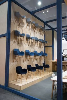 Upholstery Form chairs hanging majestically at Maison et Objet in Paris http://decdesignecasa.blogspot.it