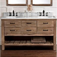 Fairmont Designs Napa 60 Double Bowl Transitional Vanity in Sonoma Sand 788059634771666275 Bathroom Vanity Decor, Rustic Bathroom Vanities, Rustic Bathrooms, Bathroom Renos, Modern Bathroom, Small Bathroom, Master Bathroom, Bathroom Storage, Bathroom Ideas