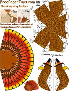* Dolls And Daydreams - Doll And Softie PDF Sewing Patterns: Free Paper Turkey Table Toy!