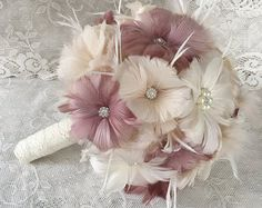 Polvo rosa broche ramo Bouquet de rosa por Elegantweddingdecor