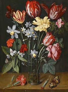 Jacob Van Hulsdonck (Antwerp 1582 – A still life with tulips, daffodils, carnations and other flowers in a vase, all resting on a wooden ledge with butterflies and a fly. Flower Vases, Flower Art, Dutch Still Life, Still Life Artists, Dutch Artists, Vanitas, Old Master, Floral Bouquets, Daffodils