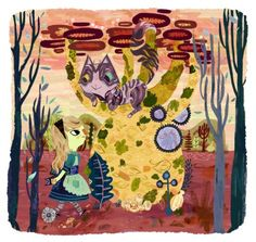 Alice meeting Cheshire Cat by Meg Hunt