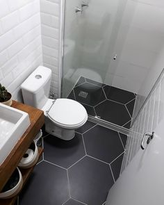 Simple And Sweet Black And White Garage Bathroom In 2019 Tiny Bathrooms, Tiny House Bathroom, Bathroom Design Small, Bathroom Interior Design, Bathroom Black, Interior Ideas, Garage Bathroom, Bathroom Floor Plans, Bathroom Wall
