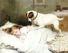 Time To Wake Up; Charles Burton Barber (1845 – 1894, English)