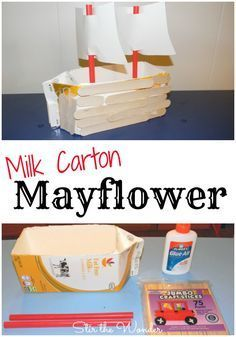 Milk Carton Mayflower: a hands-on craft for kids to make while learning all about the first Thanksgiving with the pilgrims | Stir the Wonder #thanksgivingcraftsforkids