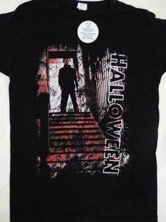 047b42b3 Details about Michael Myers Halloween Horror Movie Top Stairs T-Shirt