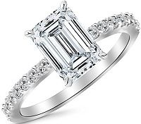 1.33 Carat Classic Sidestone Pave Set Diamond Engagement Ring