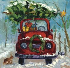 Painted red truck with a Christmas tree on wood Christmas Red Truck, Christmas Scenes, Christmas Love, Country Christmas, Christmas Pictures, Winter Christmas, Vintage Christmas, Christmas Drawing, Christmas Paintings