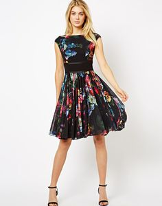 Ted Baker | Ted Baker Floral Printed Dress with Contrast Waist Band and Full Skirt at ASOS