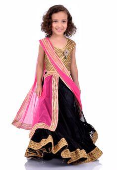 Black Net Readymade Lehenga Choli with Dupatta Online Shopping: UKU32