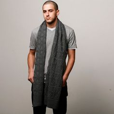 Grey men knitted scarf Valentines Day for men extra by AndyVeEirn
