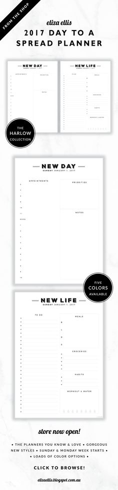 2017 Printable Day to a Spread Planner // The Harlow Collection by Eliza Ellis. Gorgeous vintage typography design. Includes appointments times, priorities section, generous notes and to-do list, daily meal planner, mini groceries list, mini habit tracker as well as exercise and water tracker. Available in 5 colors – cigar, perfume, moonshine, roadster and sterling. Monday and Sunday week starts included. Documents print to A4 or A5.