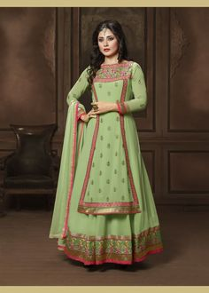 Impressive Mint Green Designer Salwar Kameez. Boost up your festive season in this beautifully designed Salwar Suit with Embroidered work. As shown as bottom and dupatta come with. #salwarkameez, #bollywoodsalwarsuits, #Rimisen