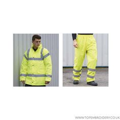 We offer a versatile range of workwear that can be embroidered and printed on to distinguish a company's brand. This is an example of our high visibility safety wear.