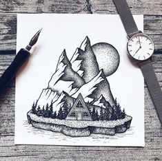 Ink Illustrations with a Meaning. Click the image, for more art by Mandy Razik. Dotted Drawings, Art Drawings Sketches Simple, Pencil Art Drawings, Stippling Art, Ink Illustrations, Pen Art, Art Sketchbook, Doodle Art, Muted Colors