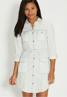 chambray shirtdress with pockets (original price, $44) available at #Maurices