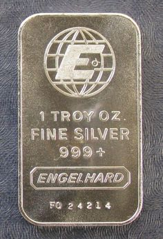 Engelhard Globe  One Troy Ounce 999+ Fine Silver Bar/Ingot