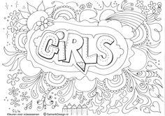Kleurplaat voor volwassenen. Girls