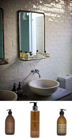 love the mirror and this type of subway tile......looks vintage!