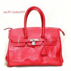 Genuine red leather handbag, leather bag, leather purse bag, leather tote bag, leather evening bag, leather woman bag AX002R