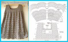 Chorrilho de ideias: Vestido menina em crochet com esquema