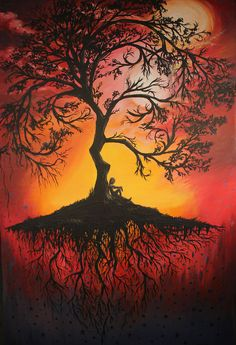 bright colors in background with the dark tree in forground