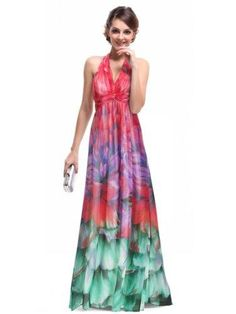 Ever Pretty Empire Line Floral Printed Chiffon Padded Sexy