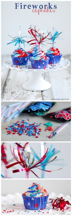 """Fireworks Cupcakes: A patriotic recipe for summer celebrations from Memorial Day to the 4th of July with fireworks cupcake toppers and popping """"fireworks"""" in your mouth!"""