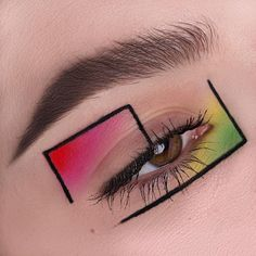 Screen creative Eye Makeup Concepts Augen Make-up> Gesicht Kunst> Farbe Formen Makeup Eye Looks, Eye Makeup Art, Colorful Eye Makeup, Crazy Makeup, Cute Makeup, Pretty Makeup, Eyeshadow Makeup, Rave Eye Makeup, Eye Makeup Designs