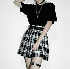 Jan 2020 - Sophie plaid skirt from Shop TMP - black white grunge gothic goth alternative pleated outfit of the day fashion Gothic Outfits, Edgy Outfits, Retro Outfits, Cute Casual Outfits, Grunge Outfits, Egirl Fashion, Teen Fashion Outfits, Fashion Black, White Skirt Outfits
