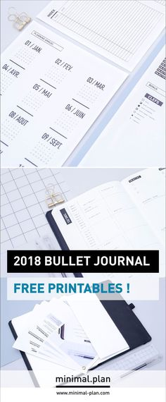 The FREE 2018 stickers sheets are on the blog! They aim to help you easily start a bullet journal in any notebook. Yous can download them for free on the blog! / Bullet journal inspiration, bullet journal ideas, minimalist bullet journal, bullet journal f