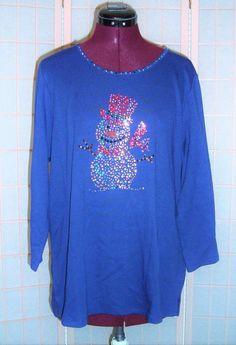 New WT Quacker Factory Sz L Cobalt Blue Faux Rhinestone Snowman Holiday Knit Top…