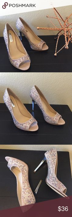 New INC International Concepts nude jeweled heels New with tags INC International Concepts Jema2 nude woven fabric peep toe heels with multicolored rhinestone crystal embellished detail. Tan burlap style fabric adorned with clear, purple and pink crystals. 4.25 inch heel height with mirrored stiletto heels. Size 9.5, new and unworn. INC International Concepts Shoes Heels