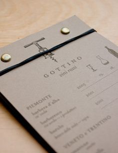 Gottino Restaurant branding. This is a great menu.