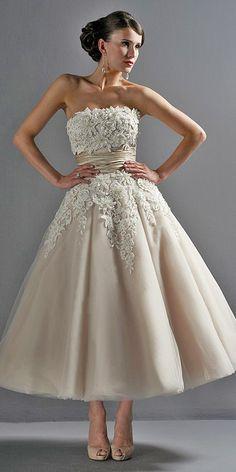 18 Gorgeous Tea Length Wedding Dresses ❤ Owners of tea length wedding dresses look stylish, romantic and feminine. See more: http://www.weddingforward.com/tea-length-wedding-dresses/ #wedding #dresses
