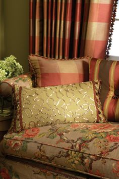 we have these fabrics in this color wave and in 3 more color waves.  custom draperies, upholstery and custom pillows.