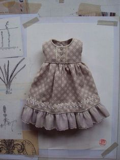 This dress is made from a lovely Tilda cotton in soft dove grey with a cute ditzy print. It has vintage lace detailing on the bodice and a plain American Girl Outfits, Doll Dress Patterns, Clothing Patterns, Girl Doll Clothes, Girl Dolls, Sewing Dolls, Little Girl Dresses, Baby Sewing, Kind Mode