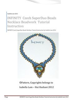 INFINITY Amazing Czech SuperDuo Beadwork Necklace surrounding Round Swarovski fancy stone  instructions for personal use only. $13.00, via Etsy.