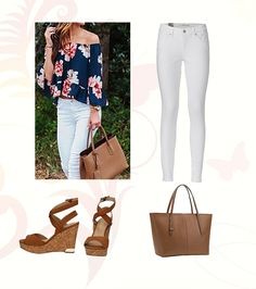 Immer voll angesagt sind tolle Blumige Sommer Blusen mit weißer Jeans. #mode #damenmode #fashion #styling #outfitidee #sommer #frühling #spring
