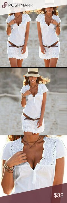 """Darling beach embroidered mini dress Super cute mini beach dress.  Belt not included.  Please note all items fit different on everyone Fabric does not stretch.  Cotton dress.    Armpit to armpit 17"""" Length 27""""   Please ask any and all questions before purchasing this item. Dresses Mini"""
