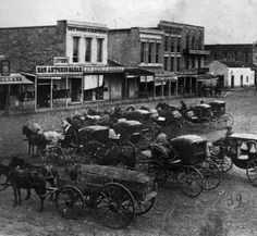San Antonio 1872 - Photo shows detail of very early stenograph of east side of Main Plaza. View looking southeast from balcony of Plaza House (north side of Main Plaza)