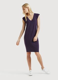 purple v-neck dress