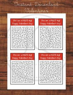 Printable Valentine's Day Card, Kids Class Valentines, Classroom Valentine's Day Cards, Printable Maze, A-maze-ing, Instant Download