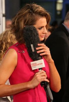 """#StanaKatic and her love affair with microphones at the """"CBGB"""" L.A. premiere (2013)"""