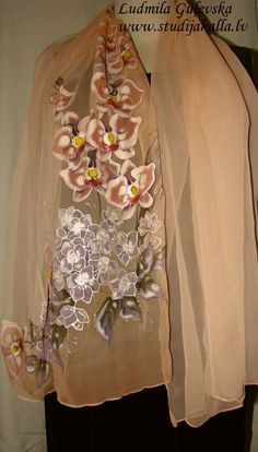 Natural silk shawl  floral light peach hand by Studijakalla