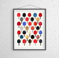 Vintage Ping Pong Paddle Racquet  Poster -  Art Wall Print - Table Tennis -  Sports