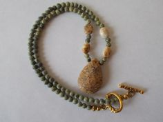 Necklace Jasper Forest by TheBarefootBombshell on Etsy, $22.00
