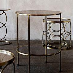 Table basse ronde en métal antique et plateau verre noir Madam Stoltz Brass Side Table, Brass Coffee Table, Art Deco Stil, Living Spaces, Living Room, Deco Furniture, Decoration, Country Style, Feng Shui