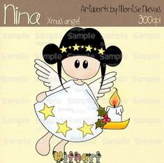 Nina dolls clipart, digital Illustration by Withart for scrapbooking, cardmaking and crafts. Christmas, angel www.etsy.com/shop/withart