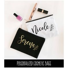 Personalized Bridal Party Gifts (EB3222P) Canvas Cosmetic Bag-Make Up Bags bachelorette, bridal shower wedding party event by all4events on Etsy